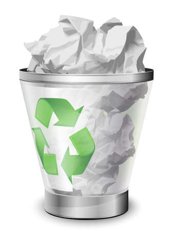 jammed: Recycle bin full of crumpled paper. Vector icon Illustration