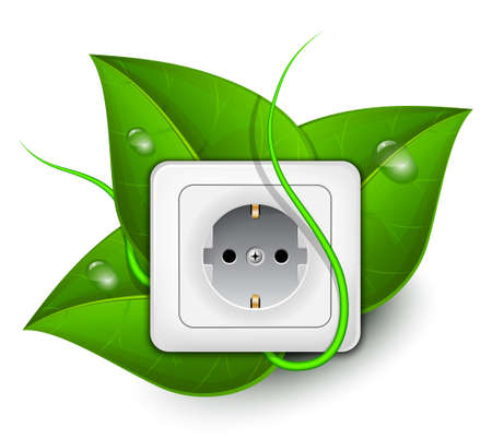 alternator: Green energy concept. Power outlet with foliage background