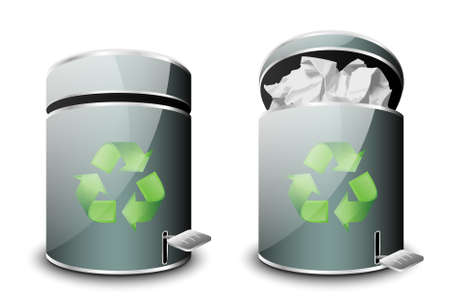 jammed: Full and empty trash icons. Vector