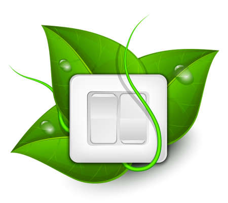 alternator: Green energy concept. Light switch with foliage background