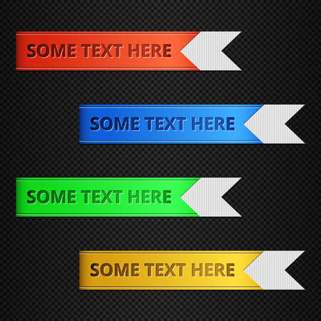 bookmark ribbon: Set of vector bookmarks, stickers, labels, tags or banners