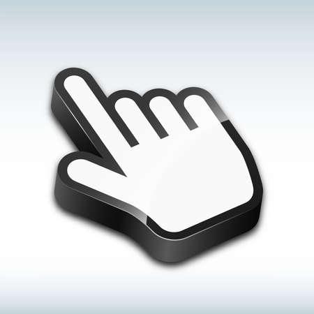 cursor: Three-dimensional hand cursor vector illustration