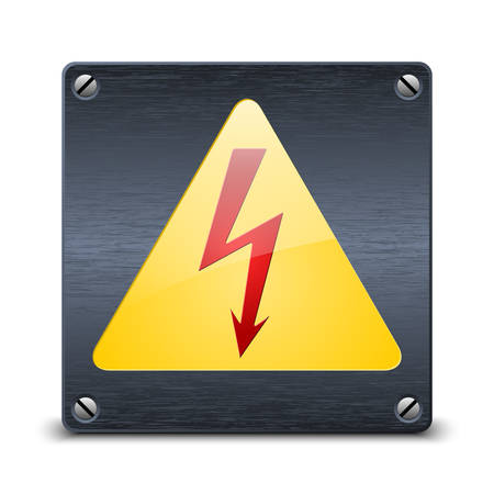 high voltage sign: High voltage vector sign on dark metal plate