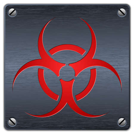 infectious waste: Vector biohazard sign on dark metal plate