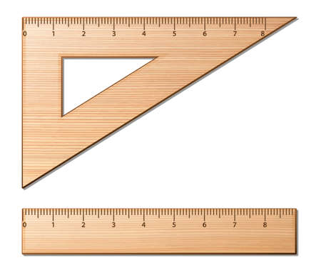 Wooden rulers on the white background. Vector