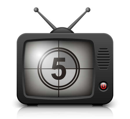 outmoded: Countdown on the Retro TV screen. Vector illustration