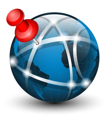 wold map: Global communication icon with pointer. Vector illustration