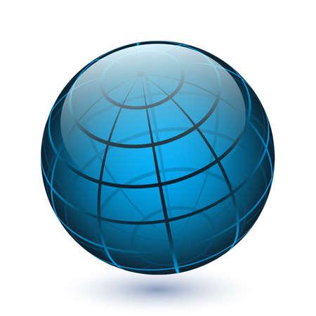 wereldbol: Vector doorschijnende glanzende bolpictogram Stock Illustratie