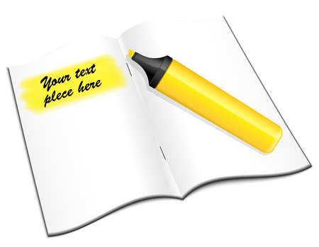 open notebook: Open notebook with yellow highlighter, vector