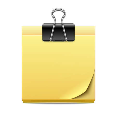 binder clip: Yellow sticky note paper with binder clip isolated on white background