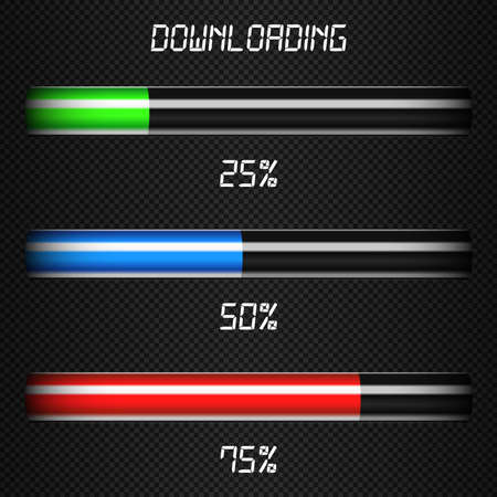 downloading: Downloading progress bars template Illustration