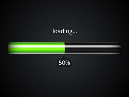 Green loading progress bar Vectores