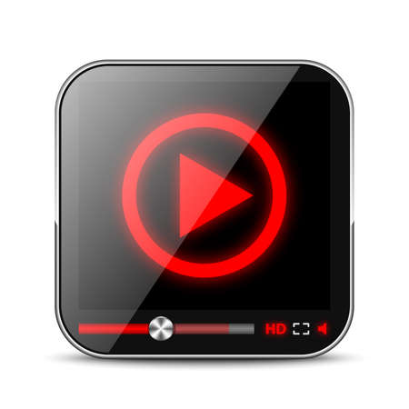 iptv: Media Player App Icon Illustration