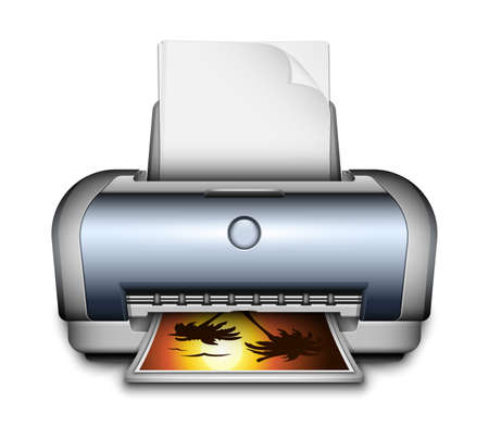 paper sheets: Printer icon with a paper sheets and photo. Vector Illustration Illustration
