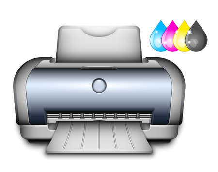 inkjet printer: Printer Icon with Ink Drops. Vector Illustration