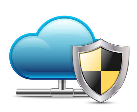 Cloud Computing Icon with Protection. Vector Illustration Illustration