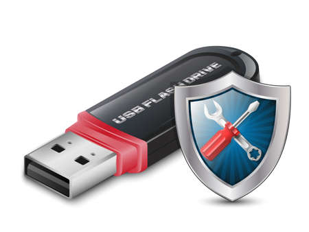 usb disk: Data Recovery Icon - USB Flash Drive with Shield. Vector Illustration