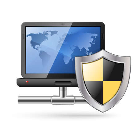 protective shield: Icon of a laptop with a network connection and protective shield. Vector Illustration Illustration