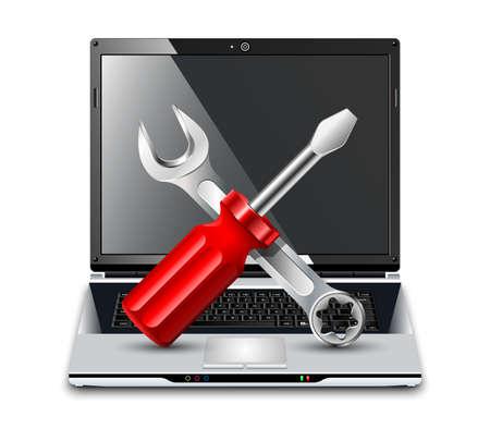 trabajando en computadora: Ordenador portátil con un destornillador y una llave. Vector Icon Reparación Vectores