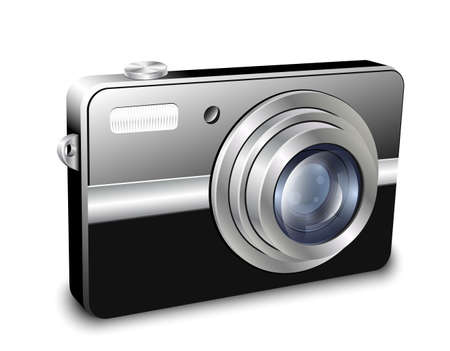 tour operator: Digital compact photo camera. Vector illustration Illustration