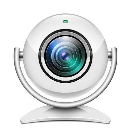 ip camera: Realistic web camera icon on white background Illustration