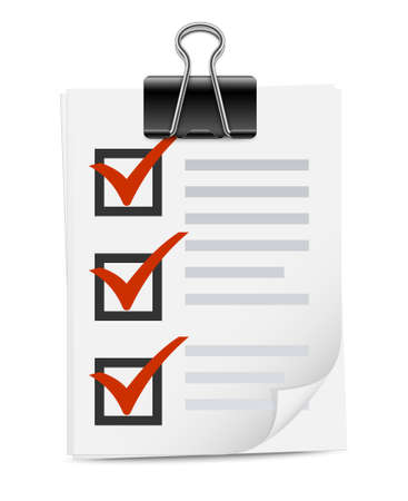 binder clip: Checklist with binder clip icon