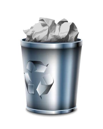 Filled trash can, vector illustration Stock Illustratie