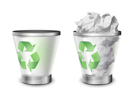 rumpled: Trash bins, full and empty. Vector illustration Illustration