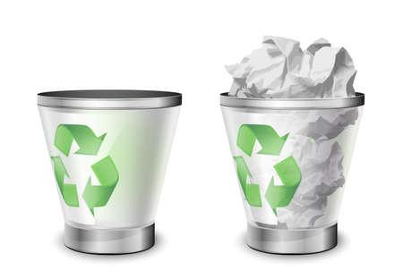 jammed: Trash bins, full and empty. Vector illustration Illustration