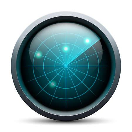 sonar: Radar icon on white background Illustration