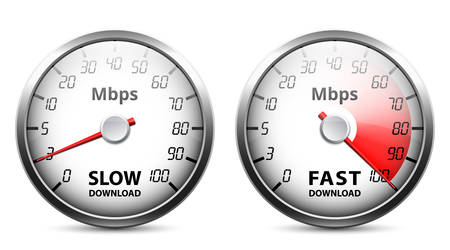 Slow and fast download speed icons, vector illustration