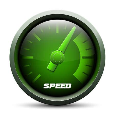 slow down: Speedometer icon, vector illustration