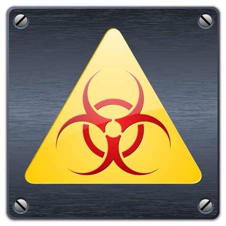 infectious waste: Vector biohazard sign on dark metal plate
