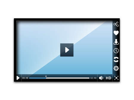 media player: Media player user interface, easy editable vector