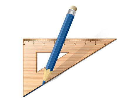 millimetre: Wooden ruler with pencil. Vector illustration