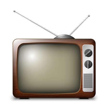 tv: Retro TV dans la caisse en bois, vecteur