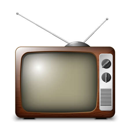 ver television: Retro TV en el caso de madera, vector