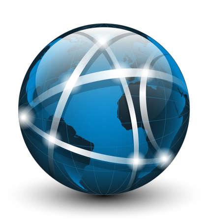 Global communication icon. Vector illustration Illustration