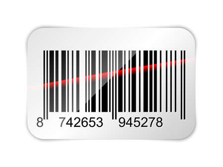 laser beam: Barcode sticker with red laser beam. Vector illustration