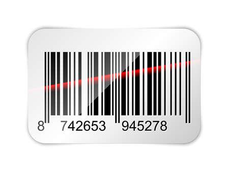 lazer: Barcode sticker with red laser beam. Vector illustration