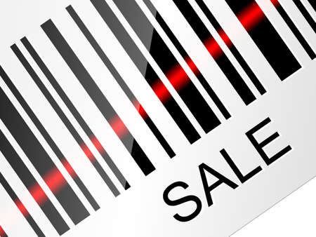 sale tag: Closeup barcode sticker with SALE tag. Vector Illustration