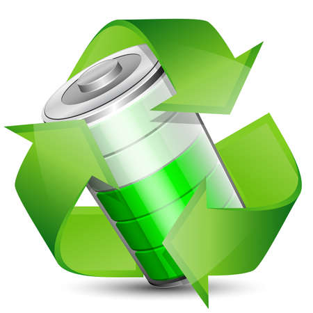 high powered: Battery with recycle symbol - renewable energy concept. Vector illustration Illustration