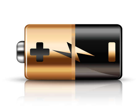 high powered: Vector Battery Icon on a white background Illustration