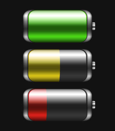 high powered: Battery icons set with different charge Illustration