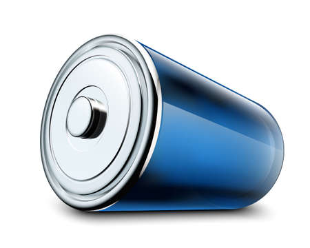 high powered: Illustration of glossy battery on white background