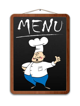 Blackboard with menu inscription and illustrated chef. Vector Illustration