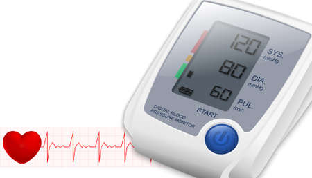 blood pressure cuff: Blood Pressure Monitor with space for text and heartbeat. Vector