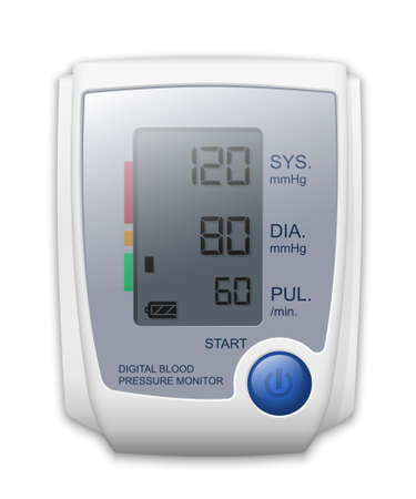 Digital blood pressure monitor, front view. Vector Illustration