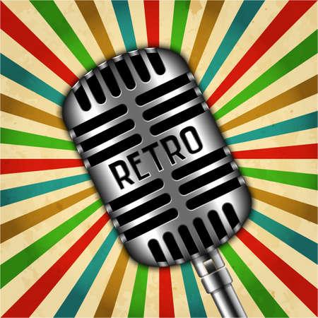 sunbeams background: Classic retro microphone on sunbeams background