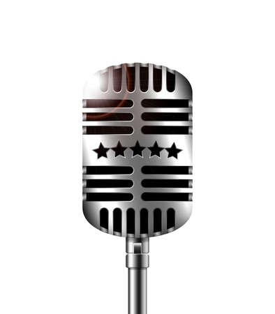 scenical: Classic retro microphone on white background Illustration